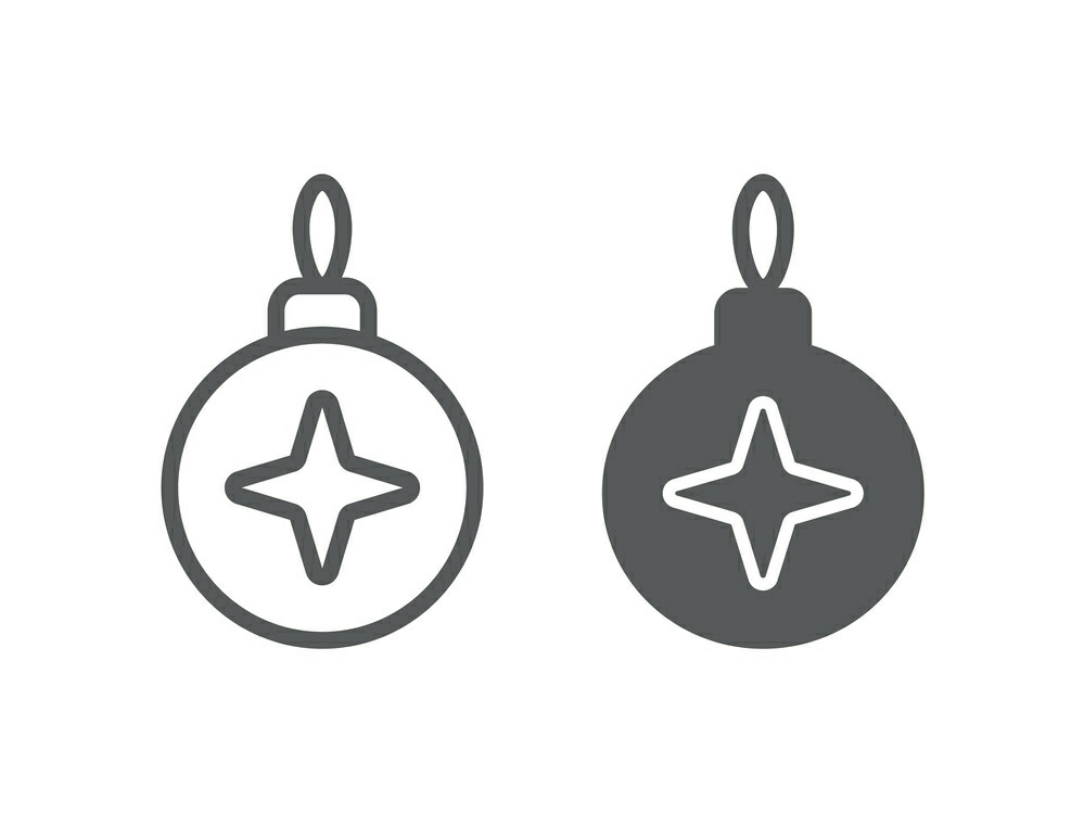 Download Free Christmas Tree Ball Line And Glyph 24 Graphic By Anrasoft for Cricut Explore, Silhouette and other cutting machines.