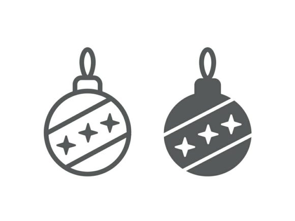 Download Free Christmas Tree Ball Line And Glyph 25 Graphic By Anrasoft for Cricut Explore, Silhouette and other cutting machines.