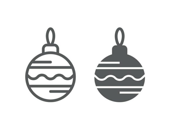 Download Free Christmas Tree Ball Line And Glyph 26 Graphic By Anrasoft for Cricut Explore, Silhouette and other cutting machines.