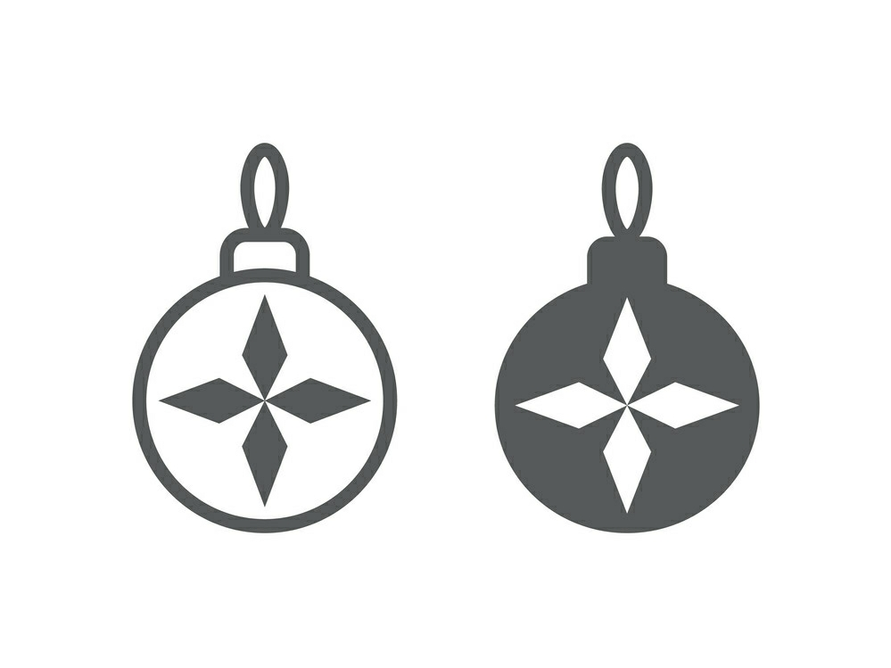 Download Free Christmas Tree Ball Line And Glyph 4 Graphic By Anrasoft for Cricut Explore, Silhouette and other cutting machines.