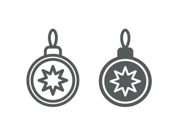 Download Free Christmas Tree Ball Line And Glyph 7 Graphic By Anrasoft for Cricut Explore, Silhouette and other cutting machines.