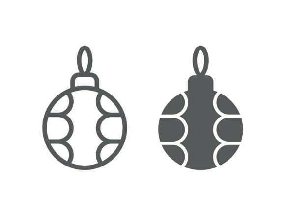 Download Free Christmas Tree Ball Line And Glyph Icon Graphic By Anrasoft for Cricut Explore, Silhouette and other cutting machines.