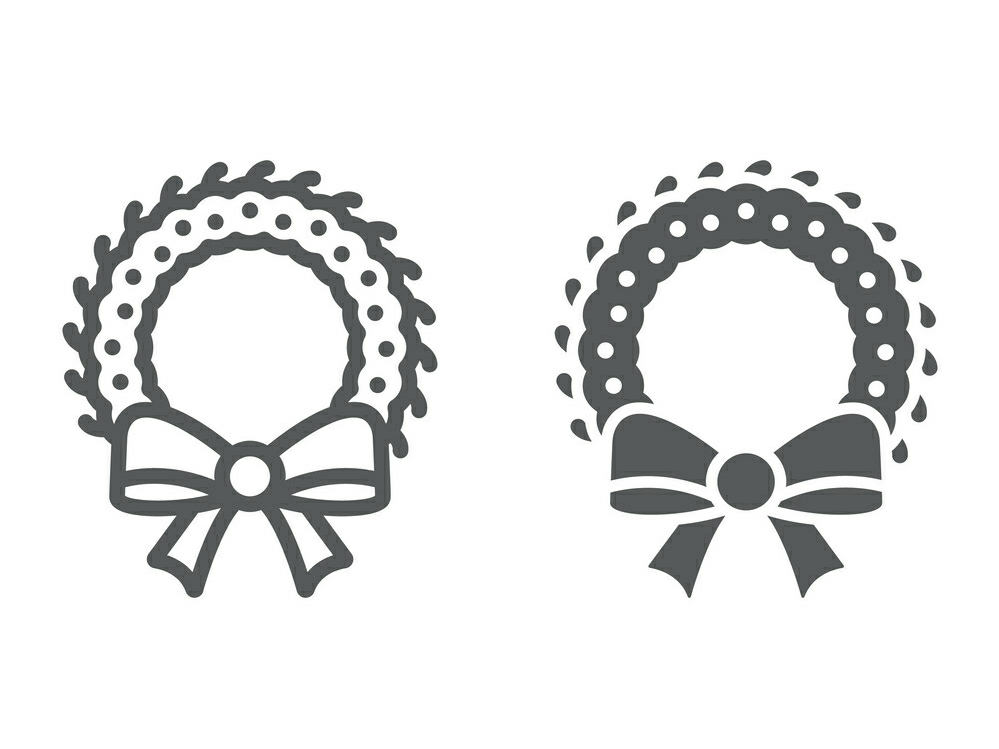 Download Free Christmas Wreath Line And Glyph Icon Graphic By Anrasoft for Cricut Explore, Silhouette and other cutting machines.