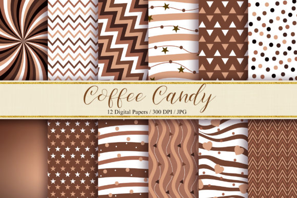 Coffee Candy Background Digital Papers Grafik Hintegründe von PinkPearly