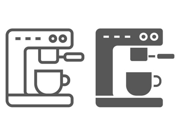 Download Free Coffee Machine Line And Glyph Icon Graphic By Anrasoft Creative Fabrica for Cricut Explore, Silhouette and other cutting machines.