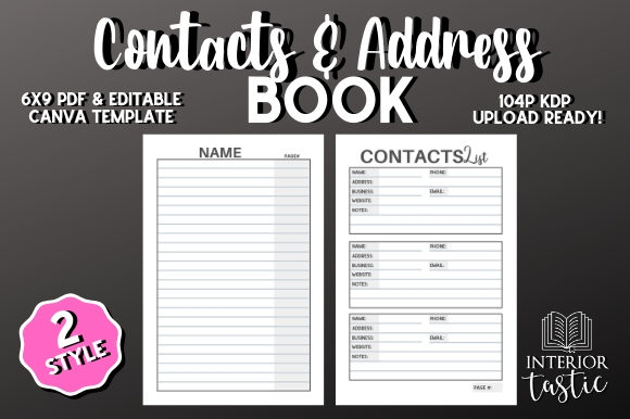 Print on Demand: Contacts Address Book Graphic KDP Interiors By InteriorTastic