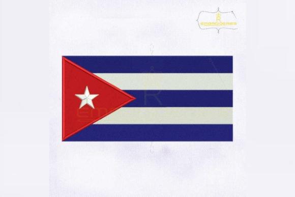 Cuba Flag North America Embroidery Design By RoyalEmbroideries