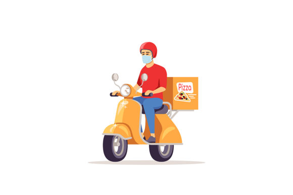 Delivery Man In Surgical Mask Graphic By Bsd Studio Creative