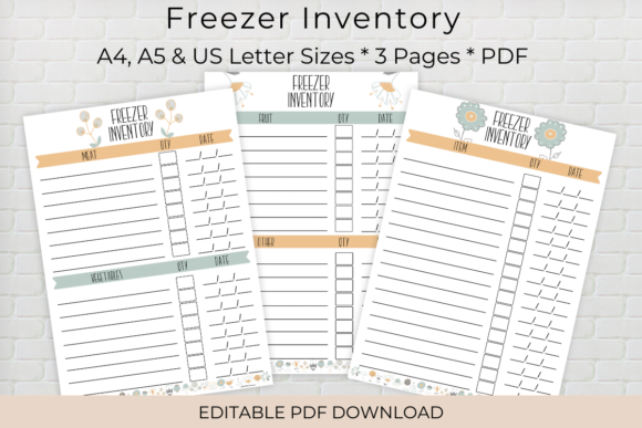 Download Free Editable Freezer Inventory Printable Graphic By The Little for Cricut Explore, Silhouette and other cutting machines.