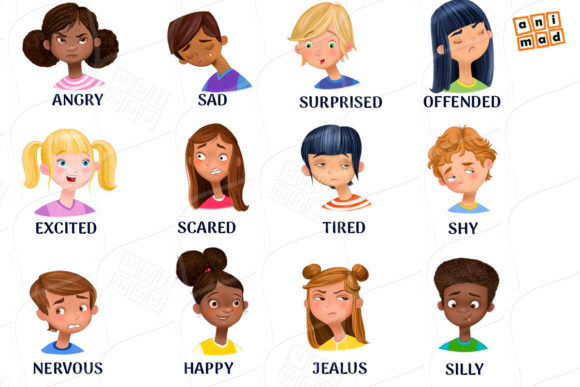 Download Free Emotions Clip Art Graphic By Animaddesign Creative Fabrica for Cricut Explore, Silhouette and other cutting machines.