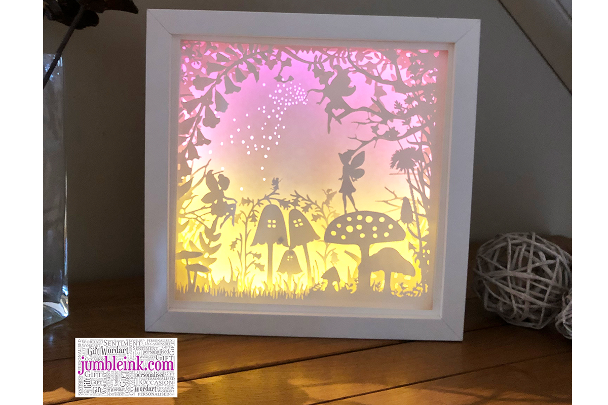 Download Free Fairy Garden 3d Paper Cut Light Box Graphic By Jumbleink Digital for Cricut Explore, Silhouette and other cutting machines.