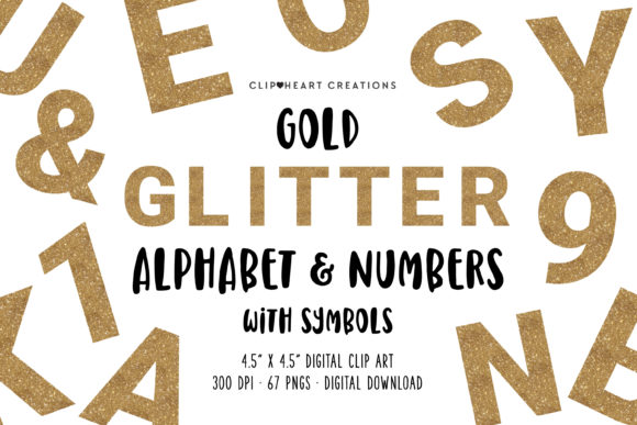 Gold Glitter Alphabet Clipart Graphic Illustrations By clipheartcreations
