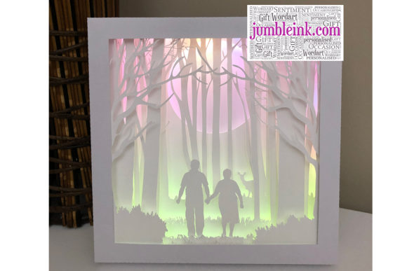 Grandparents 3D Paper Cut Light Box Grafik 3D Schattenbox von Jumbleink Digital Downloads