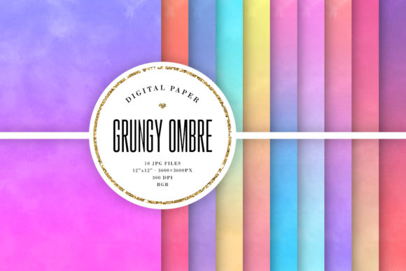 Print on Demand: Grungy Ombre Backgrounds, Gradient Paper Graphic Backgrounds By Sabina Leja