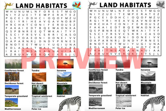 Habitats Word Search Activity Graphic 3rd grade By Saving The Teachers - Image 1