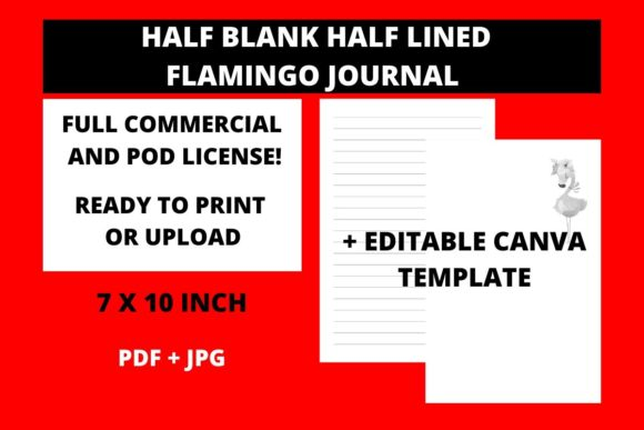 Print on Demand: Half Blank Half Lined Flamingo Journal Graphic KDP Interiors By Fleur de Tango - Image 1