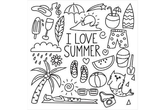 Print on Demand: Hand Drawn Set of Summer Graphic Icons By firdausm601