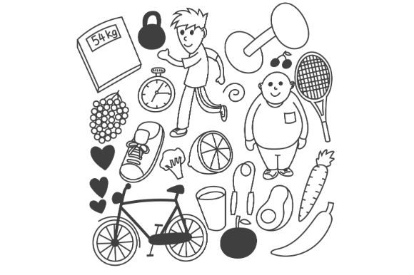 Download Free Hand Drawn Vector Diet Graphic By Firdausm601 Creative Fabrica for Cricut Explore, Silhouette and other cutting machines.