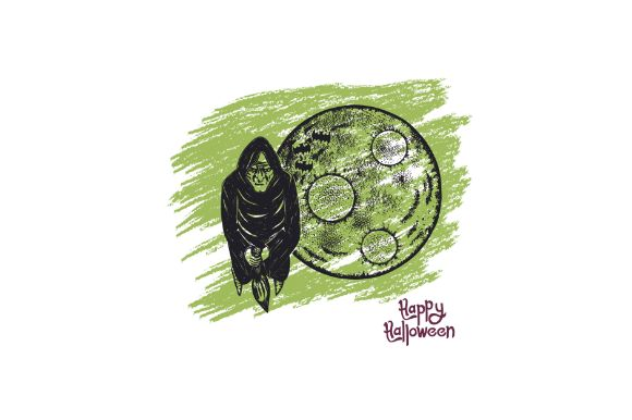 Download Free Hand Drawn Witch And Moon Halloween Graphic By Firdausm601 for Cricut Explore, Silhouette and other cutting machines.