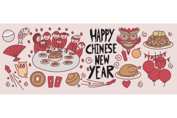Download Free Happy Chinese New Year Doodle Banner Graphic By Firdausm601 for Cricut Explore, Silhouette and other cutting machines.