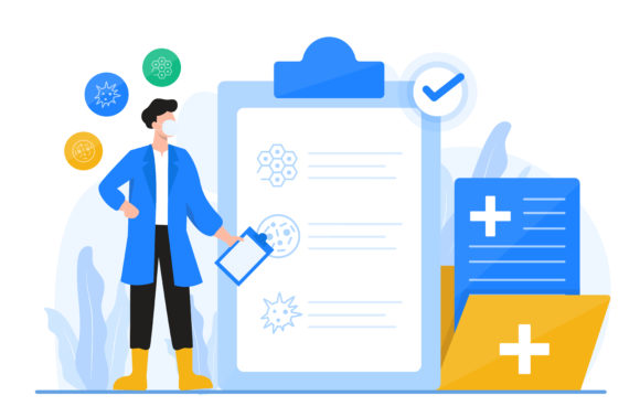 Health Data and Doctor Illustration Graphic Illustrations By OKEVECTOR