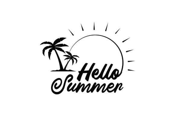 Download Free Hello Summer Hand Lettered Graphic By Fauzidea Creative Fabrica for Cricut Explore, Silhouette and other cutting machines.