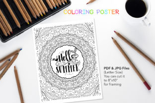 Hello Summer – Quote for Coloring Graphic Coloring Pages & Books Adults By danieladoychinovashop