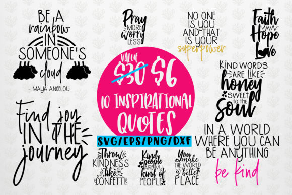 Inspirational Quote Bundle Graphic Crafts By CoralCutsSVG