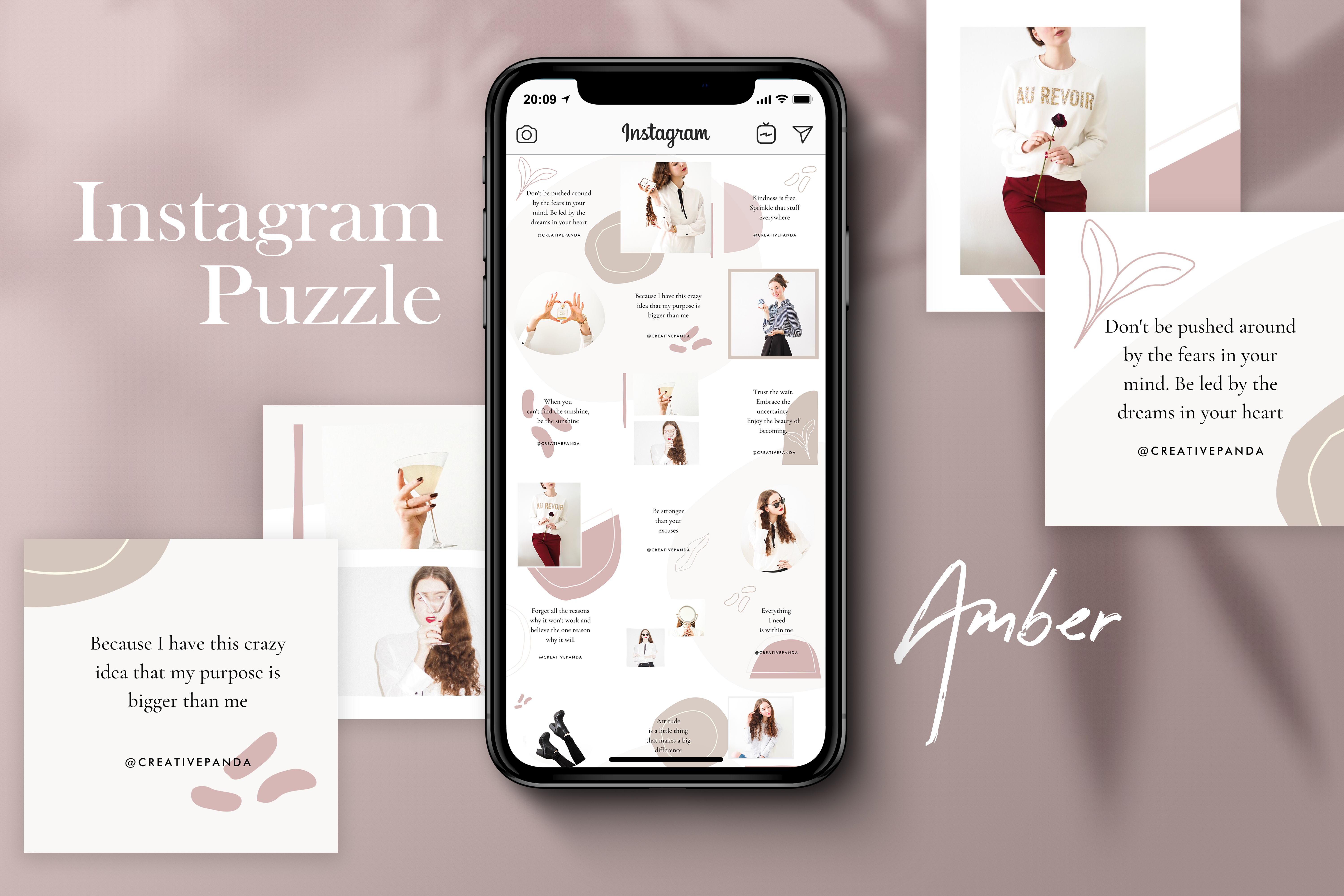 Download Free Instagram Puzzle Template Amber Graphic By Creativepanda for Cricut Explore, Silhouette and other cutting machines.
