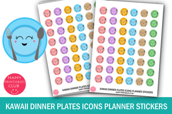 Download Free Kawaii Dinner Plates Meal Icons Planner Graphic By Happy for Cricut Explore, Silhouette and other cutting machines.
