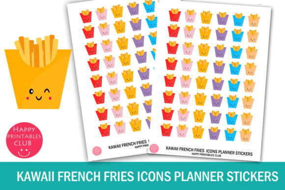 Print on Demand: Kawaii French Fries Icons Stickers Graphic Crafts By Happy Printables Club