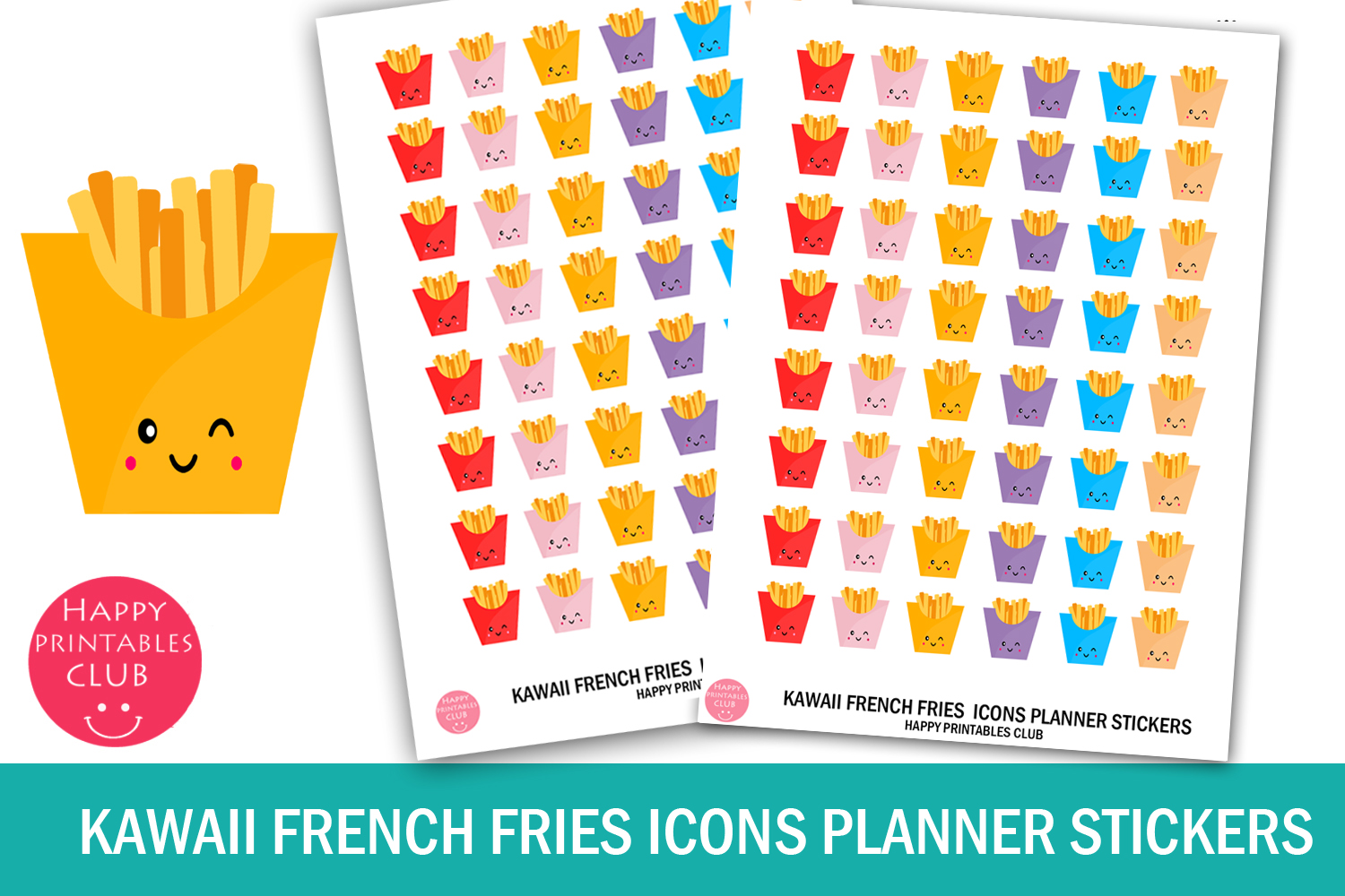 Download Free Kawaii French Fries Icons Stickers Graphic By Happy Printables for Cricut Explore, Silhouette and other cutting machines.