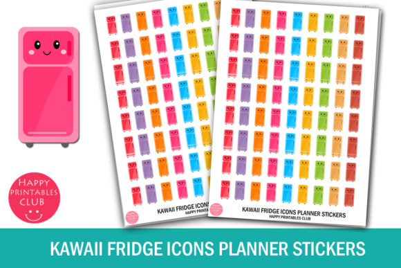 Download Free Kawaii Fridge Icons Planner Stickers Graphic By Happy Printables for Cricut Explore, Silhouette and other cutting machines.