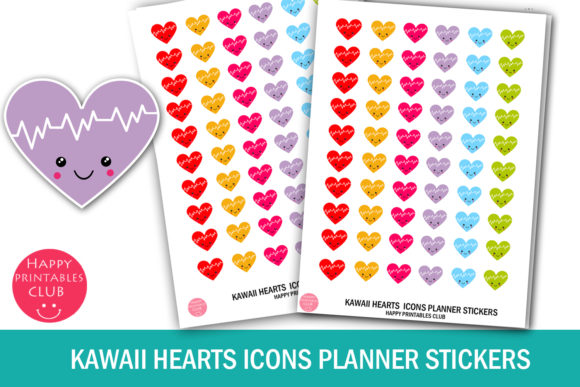 Print on Demand: Kawaii Hearts Icons Planner Stickers Graphic Crafts By Happy Printables Club