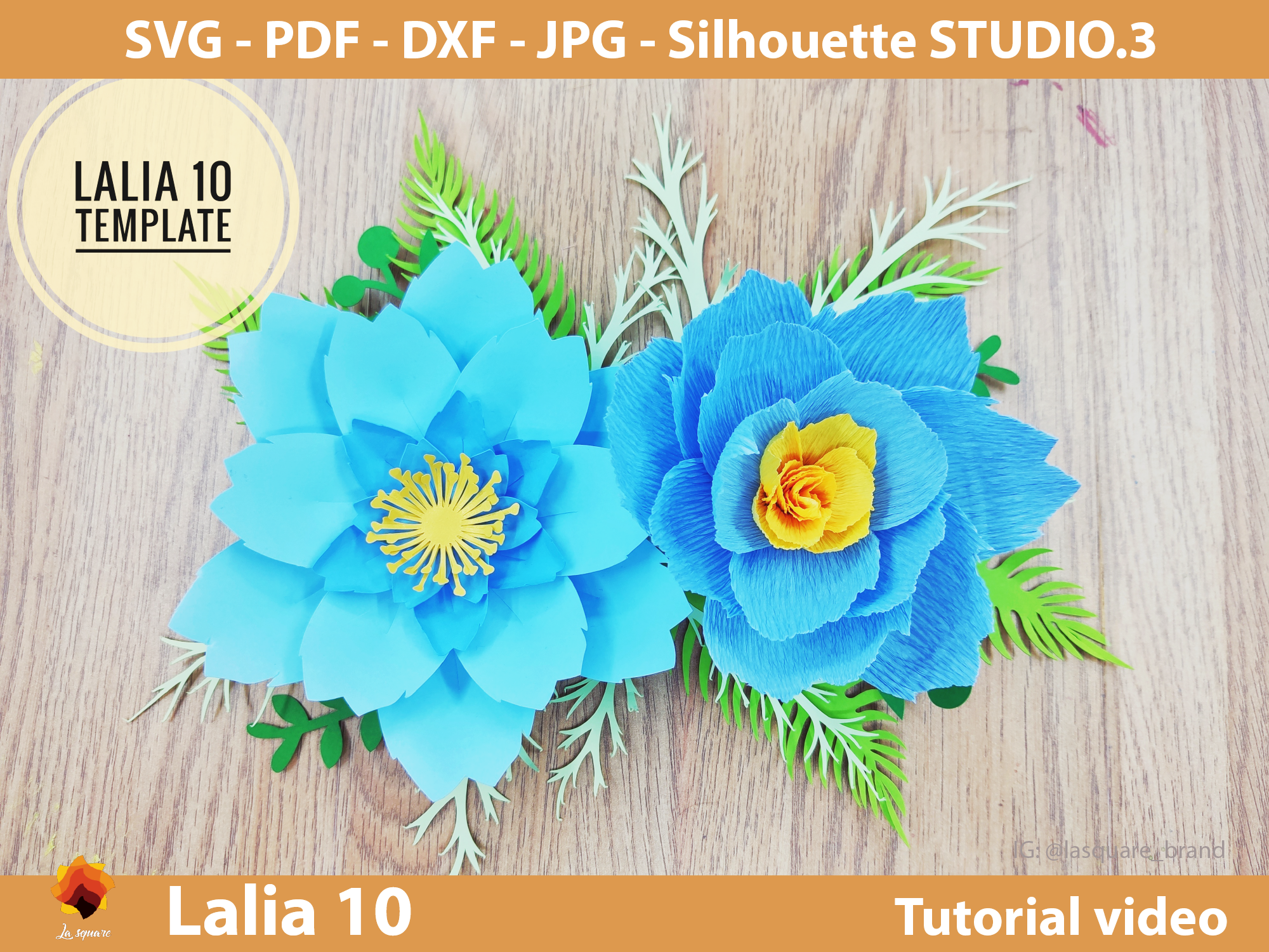Download Free Lalia 10 Giant Paper Flowers Template Grafico Por Lasquare Info for Cricut Explore, Silhouette and other cutting machines.