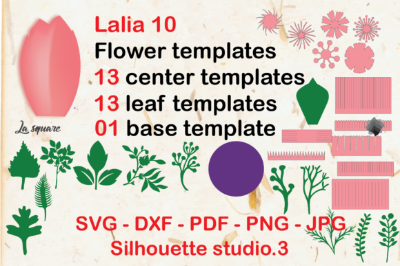 Download Free Lalia 10 Giant Paper Flowers Template Graphic By Lasquare Info for Cricut Explore, Silhouette and other cutting machines.