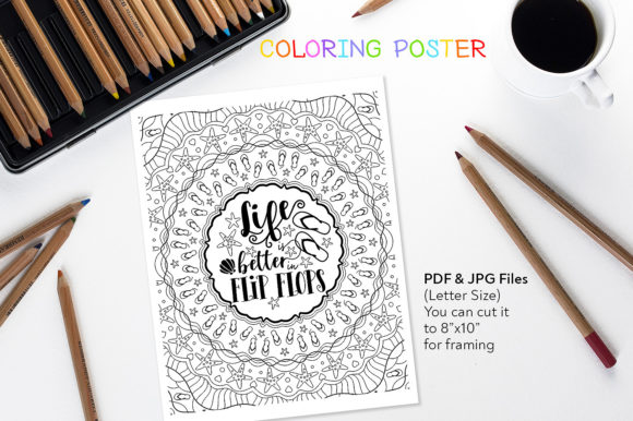 Life is Better in Flip Flops - Coloring Graphic Coloring Pages & Books Adults By danieladoychinovashop