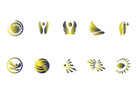 Download Free Lines Logo Gradient Yellow Blue Graphic By Belangbiru for Cricut Explore, Silhouette and other cutting machines.