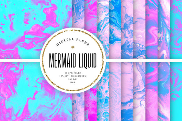 Print on Demand: Liquid Backgrounds - Mermaid Colors Graphic Backgrounds By Sabina Leja