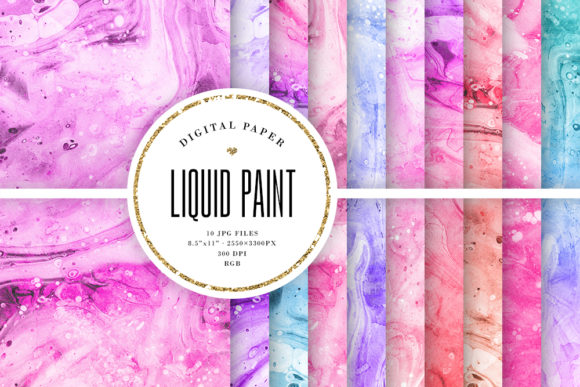 Print on Demand: Liquid Paint Backgrounds, Paper Textures Graphic Backgrounds By Sabina Leja