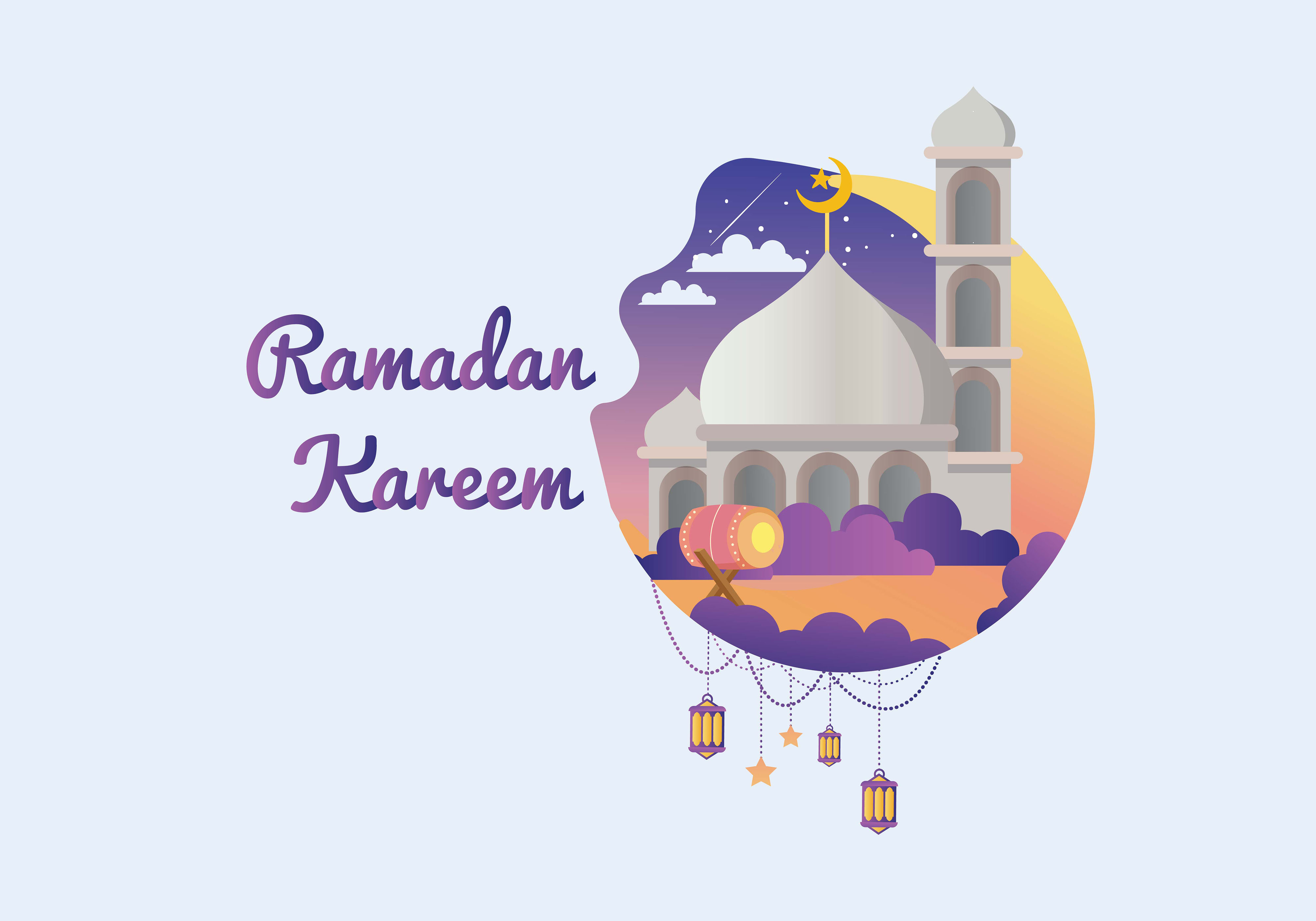 Download Free Marhaban Yaa Ramadan Illustration Art Graphic By Purplebubble for Cricut Explore, Silhouette and other cutting machines.