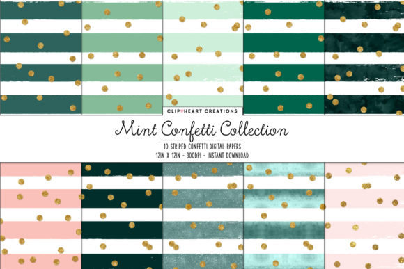 Download Free Mint Confetti Sparkle Digital Papers Graphic By for Cricut Explore, Silhouette and other cutting machines.