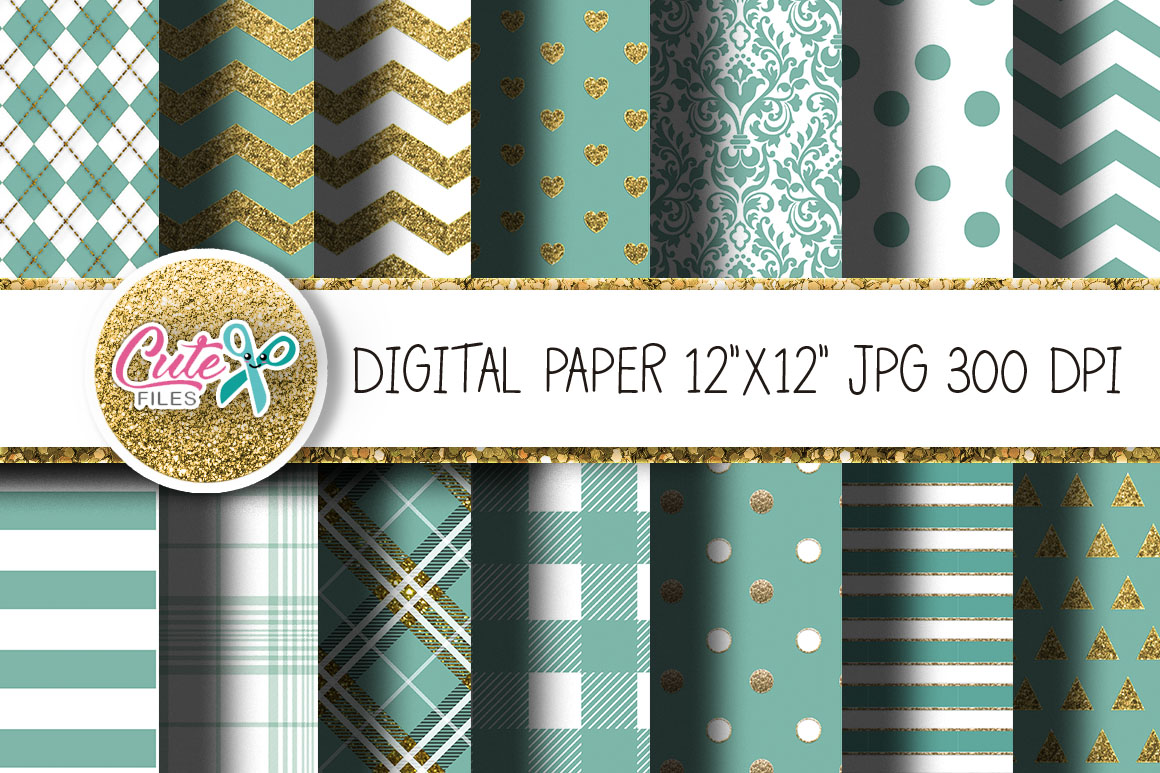 Mint Digital Papers For Crafters Graphic By Cute Files