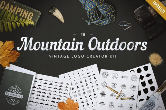 Print on Demand: Mountain Outdoor Vintage Logo Kit Graphic Logos By LovePowerDesigns - Image 1