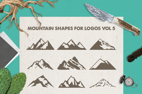 Print on Demand: Mountain Shapes Bundle Graphic Logos By LovePowerDesigns - Image 2