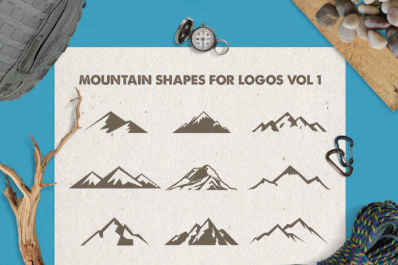 Print on Demand: Mountain Shapes Bundle Graphic Logos By LovePowerDesigns - Image 3