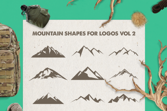 Print on Demand: Mountain Shapes Bundle Graphic Logos By LovePowerDesigns - Image 6