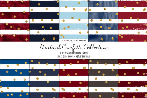 Download Free Nautical Confetti Sparkle Digital Papers Graphic By for Cricut Explore, Silhouette and other cutting machines.