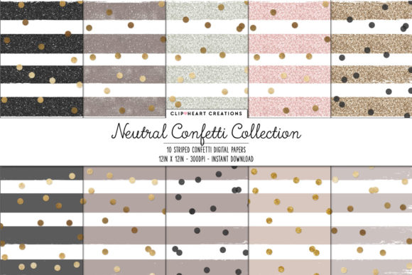 Neutral Confetti Sparkle Digital Papers Graphic Backgrounds By clipheartcreations