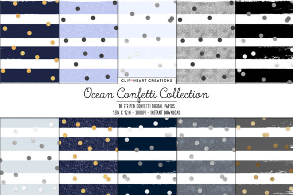 Ocean Confetti Sparkle Digital Papers Graphic Backgrounds By clipheartcreations